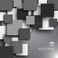 Abstract overlapping square black and white color background.