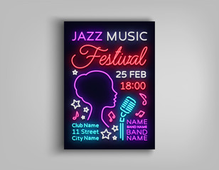 Jazz Festival Poster Neon. Neon sign, Neon style brochure, Design invitation template for Jazz music festival, Light Banner, Nightly advertisement of the festival, party, concert. Vector illustration