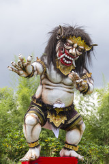 Ogoh-ogoh statue built for the Ngrupuk parade, which takes place on the even of Nyepi day in Bali island, Indonesia