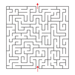 Vector square maze with entrance and exit. Black and white drawing with red arrows.