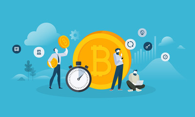 Bitcoin exchange. Flat design style web banner of blockchain technology, bitcoin, altcoins, cryptocurrency mining, finance, digital money market, cryptocoin wallet, crypto exchange.