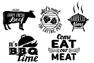 Trendy meat quotes, vintage vector hand drawn illustration