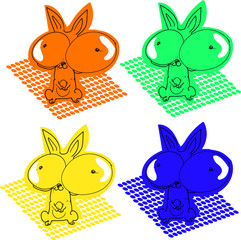 huge eyes funny rabbit cartoon