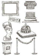 Museum icon set, vector ink hand drawn illustration