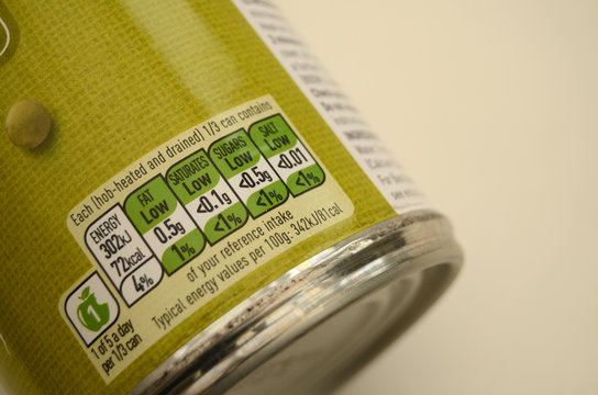 Tinned Food Colour Coded Nutrition Label