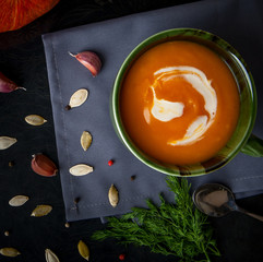 Pumpkin soup. Healthy lunch