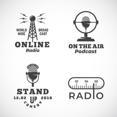 Online Radio and Microphone Abstract Vector Emblems Set. Broadcast Tower, Podcast or Stand Up Comedy Microphone Signs or Logo Templates. Radio Scale and On the Air Symbols.