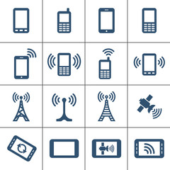 Mobile devices and wireless technology icons. Vector