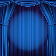 Blue Theater Curtain Vector. Theater, Opera Or Cinema Scene. Realistic Illustration