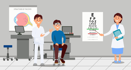 Two doctors examining patient in clinic. Medical workers helping young man selecting eyeglass during testing. Ophthalmology medical service. Healthcare concept. Flat vector