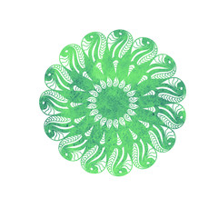 Watercolor decorative mandala element isolated on white background