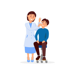 Careful doctor treats eye of young man using eye-drops. Professional at work. Medical treatment and healthcare concept. Cartoon woman in white uniform. Flat vector design