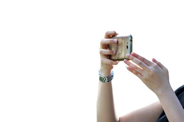 A woman's hand is taking a picture from the phone. isolated on white background