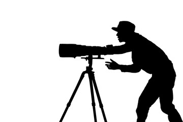 Silhouette of the photographer.isolated on white background