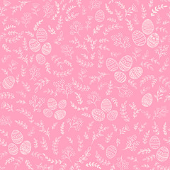 Seamless Easter decorations with eggs on pink background