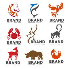 best animal logo collection on white background.  exotic tropic animal emblem Perfect for logo design