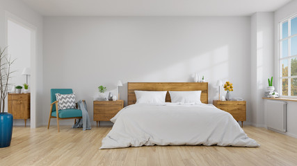 Scandinavian interior of bedroom concept design,blue lounge chair with wood bedside table and white bed  on white wall ,empty room ,3d rendering