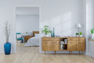 Scandinavian interior concept ,wood cabinet on white room and white bedroom  design ,empty room ,3d rendering Wall mural