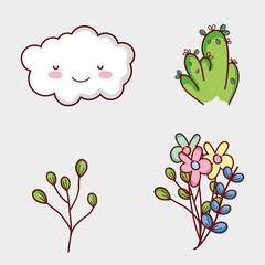 Nature elements doodles cartoons