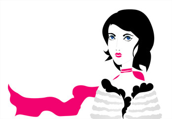 Elegant young woman with black hair and long pink scarf. Vector