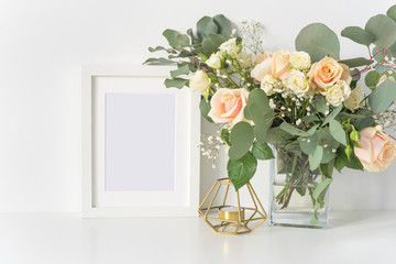 Blush wedding bouquet with roses