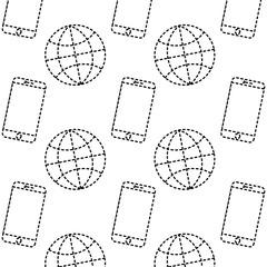 technology world smartphone connection digital pattern image vector illustration dotted line design
