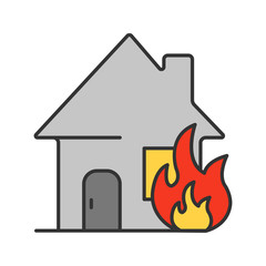 Burning house color icon