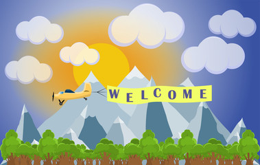 Flat vector cartoon style illustration landscape with skyline and airplane with place for text and text Welcome