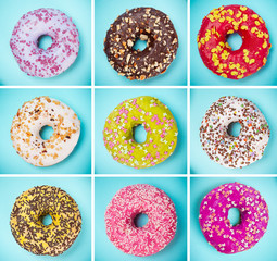 Tasty doughnuts collection on pastel blue background.