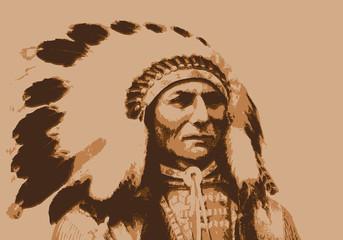 Crazy Horse - chef indien - portrait - personnage célèbre - Amérique - guerrier - Cheyenne