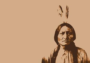 Sitting Bull - chef indien - portrait - personnage célèbre - Amérique - guerrier - Sioux Wall mural