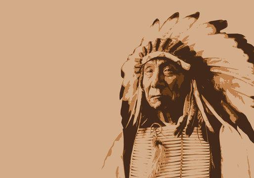 Red Cloud - chef indien - portrait - personnage célèbre - Amérique - guerrier - Sioux