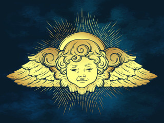 Gold cherub cute winged curly smiling baby boy angel with rays of linght over blue sky background. Hand drawn design or fabric print vector illustration