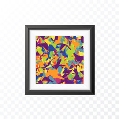 Realistic Minimal Isolated Black Frame with Abstract Art Scene on Transparent Background for Presentations . Vector Elements