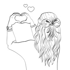 The girl s back. Hands shows the figure of the heart. On the wall. Object on white background vector. Coloring book