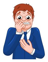 Cartoon frightened businessman