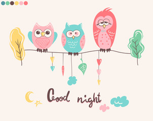 Print with cute owls and phrase Good night for children pajamas