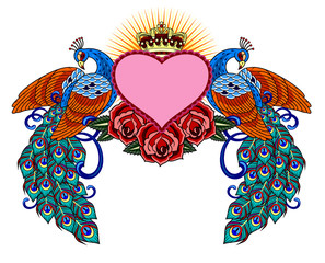 heart, surrounded by peacocks and roses,  old school tattoo image