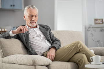 Creating plan. Handsome bearded man expressing positivity while holding glasses in right hand, sitting on the sofa
