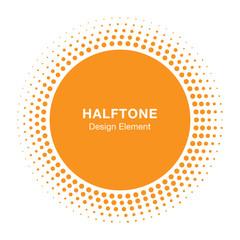 Wall Mural - Sun Circle Halftone Vector Logo Design Element. Sun halftone icon emblem for health, treatment, medical, cosmetic, pharm, honey.  Vector illustration.