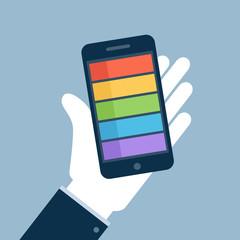 Smartphone on hand flat icon. Vector illustration.
