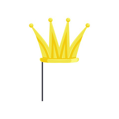 Golden crown on stick, masquerade decorative element cartoon vector Illustration on a white background