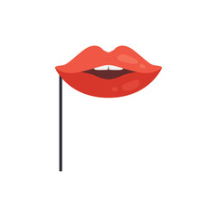 Red lips mask on stick, masquerade decorative element cartoon vector Illustration on a white background