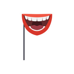 Smiling mouth mask on stick, masquerade decorative element cartoon vector Illustration isolated on a white background