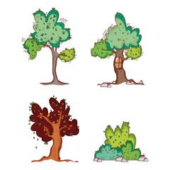 Set of trees doodles cartoons