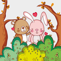 Cute bear and bunny loving in the forest