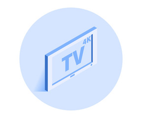 4K TV icon. Vector illustration in flat isometric 3D style.