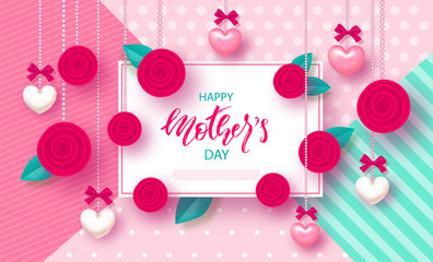 Happy Mother's Day - banner. Beautiful Background with hearts, roses and bows. Vector Illustration