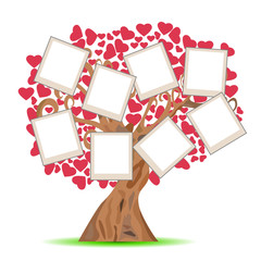 heart tree with picture frames