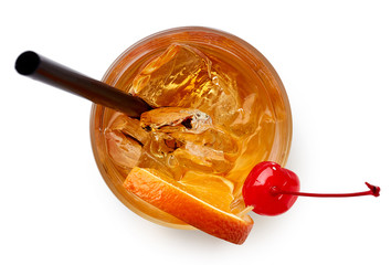 Glass of Old fashioned cocktail